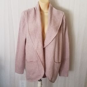 Dusty Pink Open Front Pockets Cardigan
